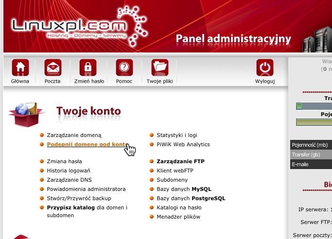 Linuxpl.com admin panel serwer domena