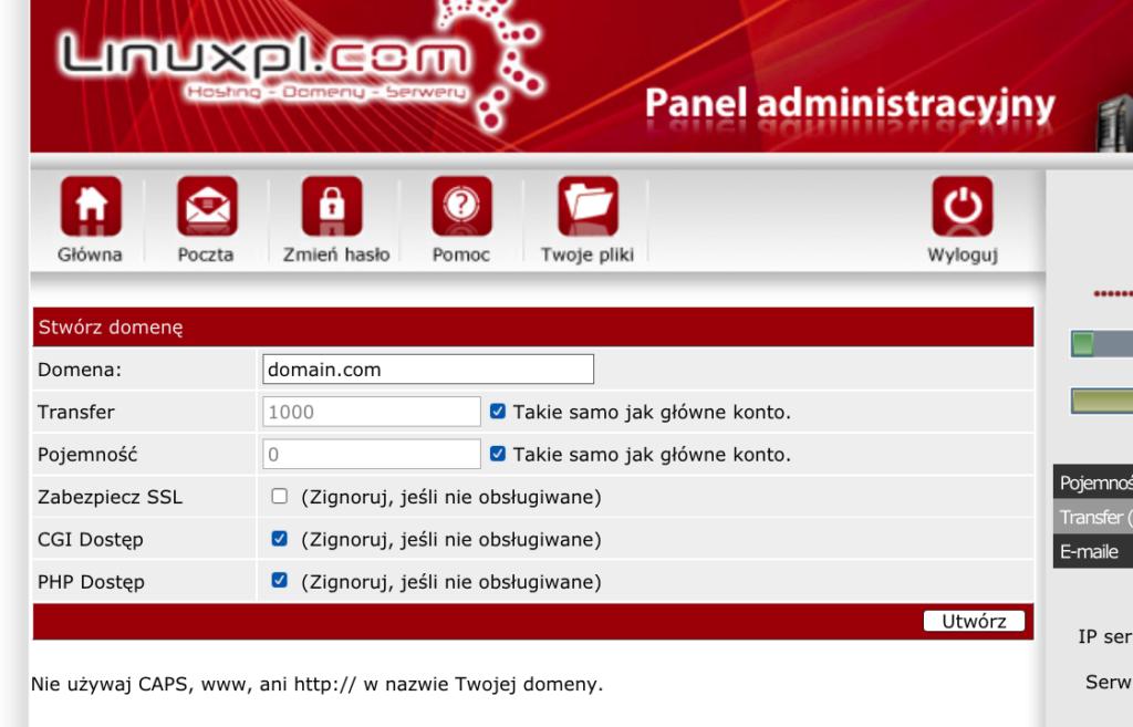 linuxpl.com panel administracyjny obsługa